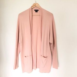 Trouve long open cardigan blush pink size Large